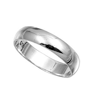 Sterling Silver 925 5mm Plain Band Ring